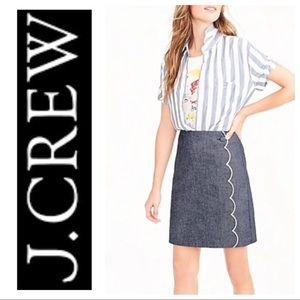 J Crew Chambray Blue Scalloped Mini Skirt sz 4